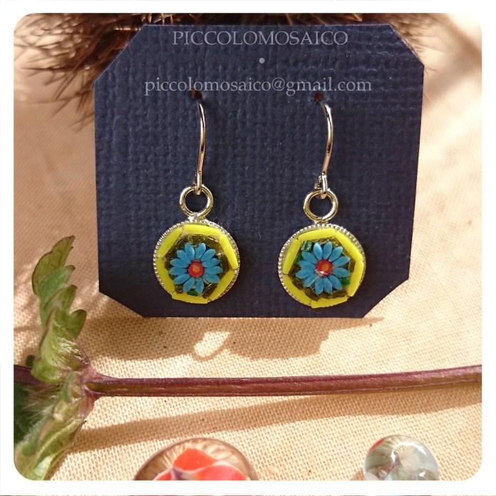 orecchini micromosaico piccoli fiore blu 04