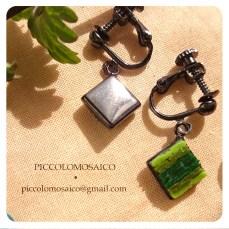 orecchini verdi micromosaico astratto 01