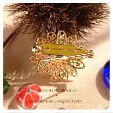 spilla micromosaico dorata fiore rosa 01
