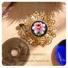spilla micromosaico dorata fiore rosa 02