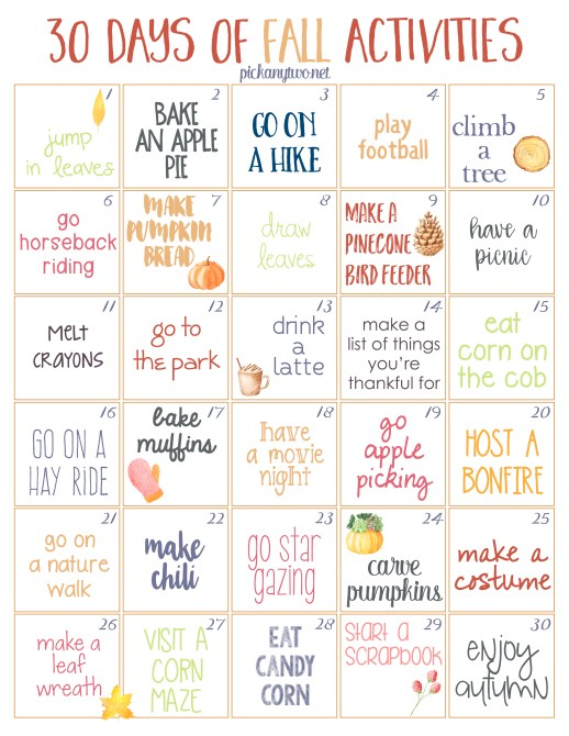 30 Days of Fall Activities: Free Printable Calendar
