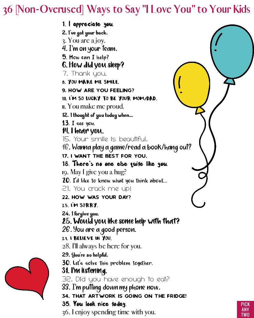 36 Non Overused Ways To Say I Love You To Your Kids Pick Any Two Synonyms lucky in the picture. ways to say i love you to your kids