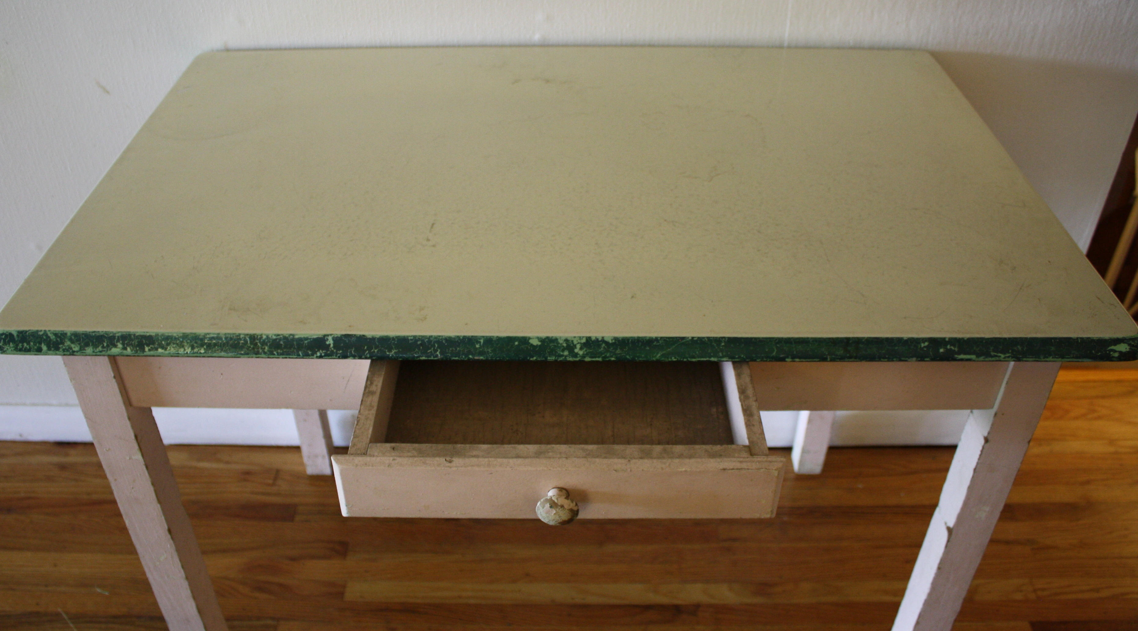 Antique Enamel Top Farmhouse Table Picked Vintage