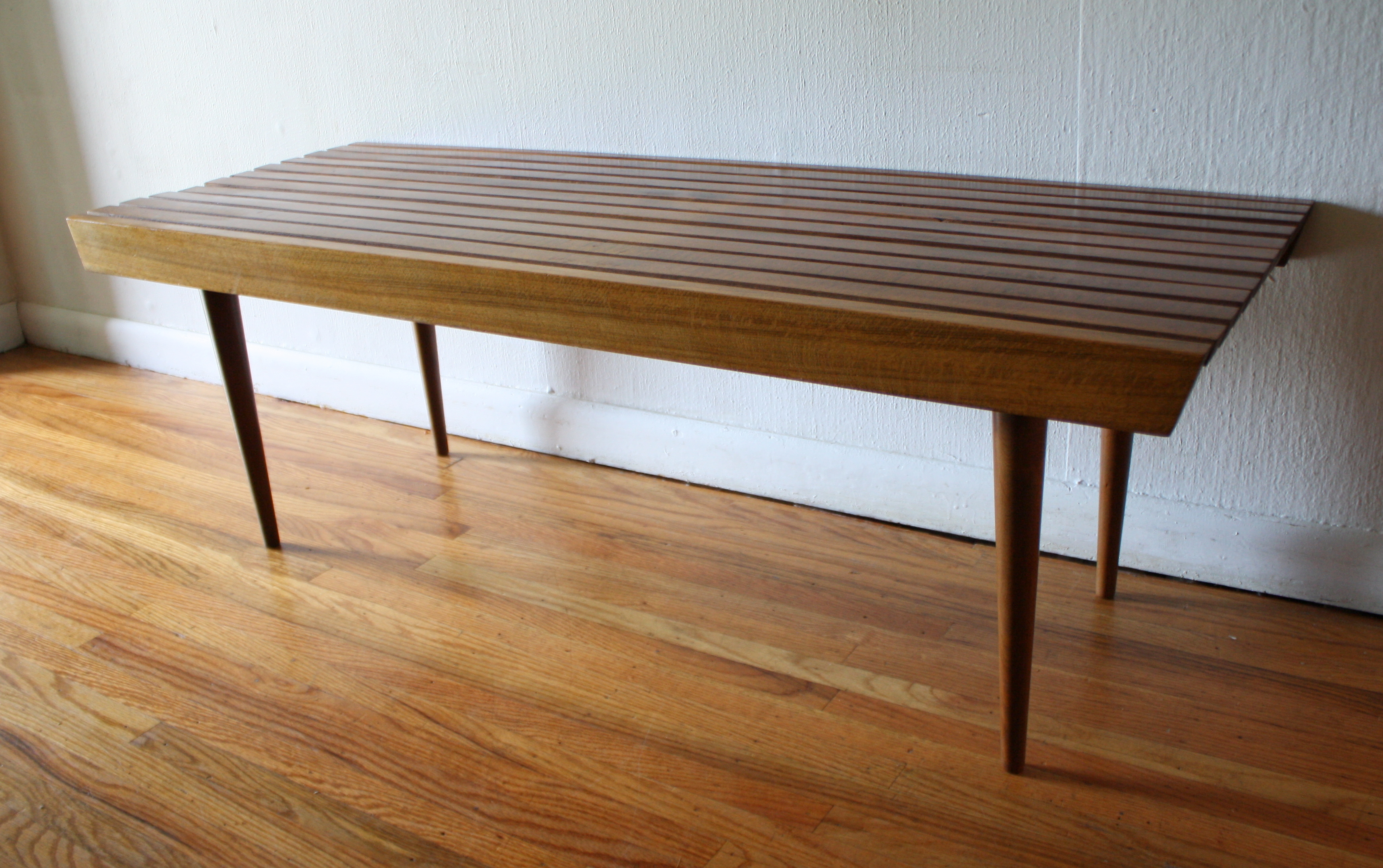 Mid Century Modern Slatted Bench Coffee Table Picked Vintage