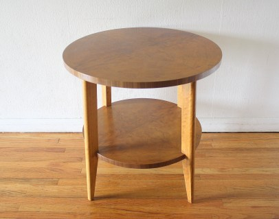 mcm round side end table with burl design 2