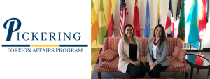 Pickering Logo and Two Fellows in Front of Flags