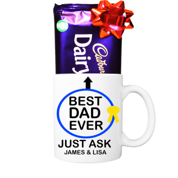 Best Dad Ever Mug Personalised with Cadbury's Milk Chocolate