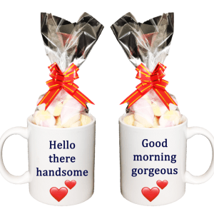 Hello There Handsome and Good Morning Gorgeous Gift Mug Set with Marshmallow