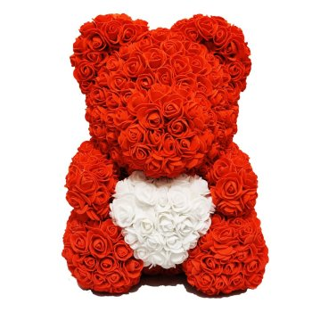 Luxury Red Rose Bear Front