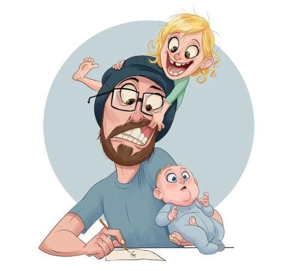 Детские рисунки папа и малыш