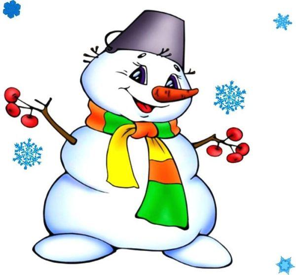 Цветные картинки снеговика для детей. Легкие срисовки.