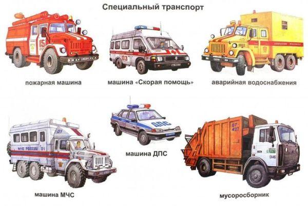 Картинки спецтранспорта для дошкольников в детский сад
