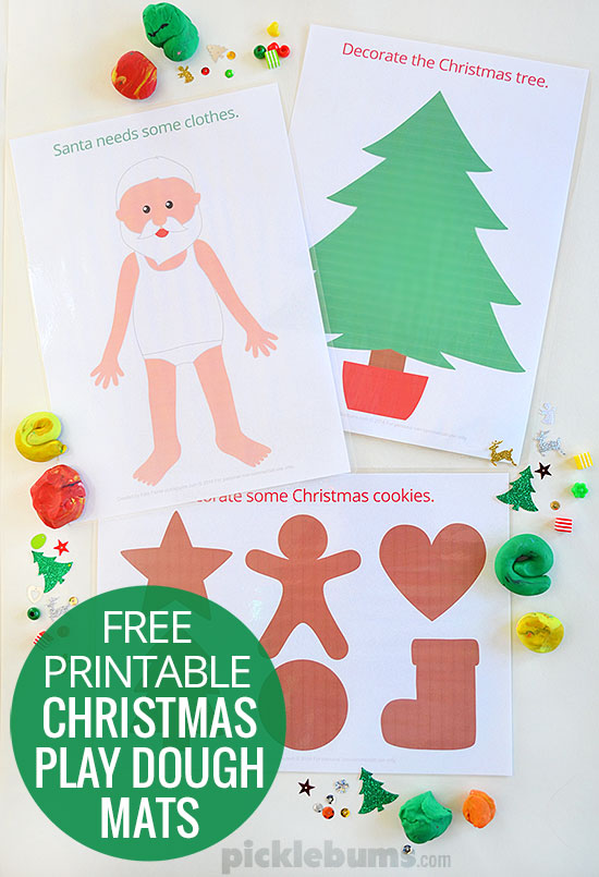Free Printable Christmas Play Dough Mats Picklebums