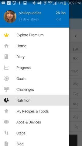 myfitnesspal nutrition tab