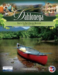 Dahlonega guide page, with a kayak resting on the gravel ready to go in the water.