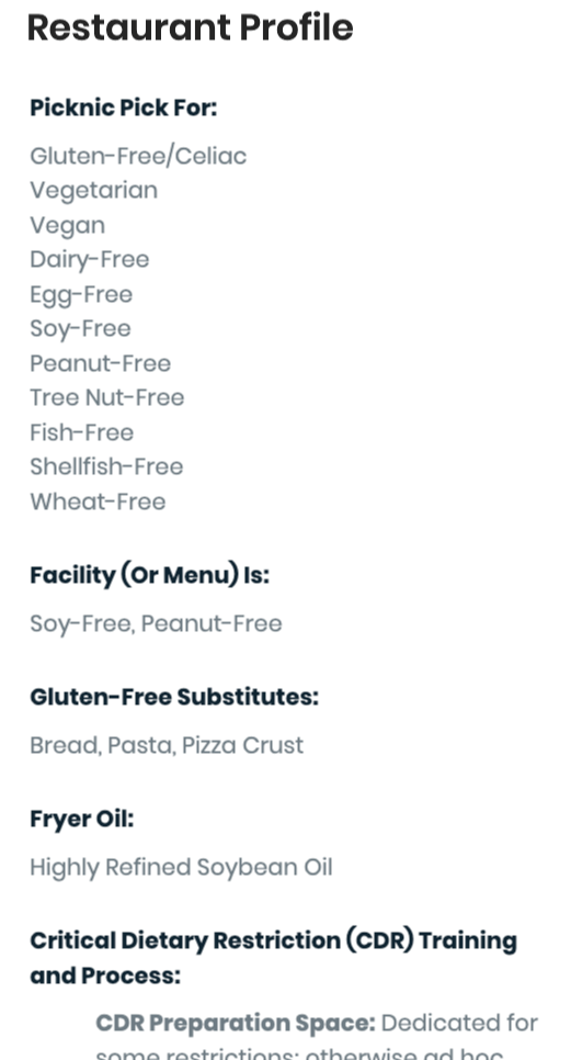 Image of Picknic's Restaurant Profile, which displays Picknic Picks and explains why they were chosen for each restaurant. Example: restaurant is a pick for gluten-free and dairy-free with a completely peanut-free menu.