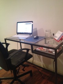 This is where the magic happens...I kept my desk intentionally small so that it wouldn't gather a lot of junk.