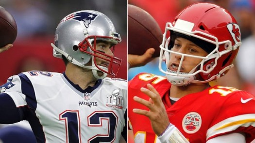 Patriots and Chiefs QBs Tom Brady and Patrick Mahomes