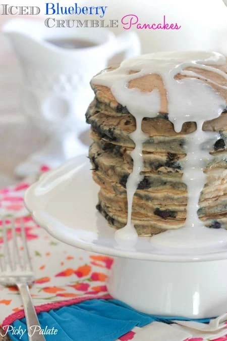 Iced Blueberry Crumble Pancakes by Picky Palate