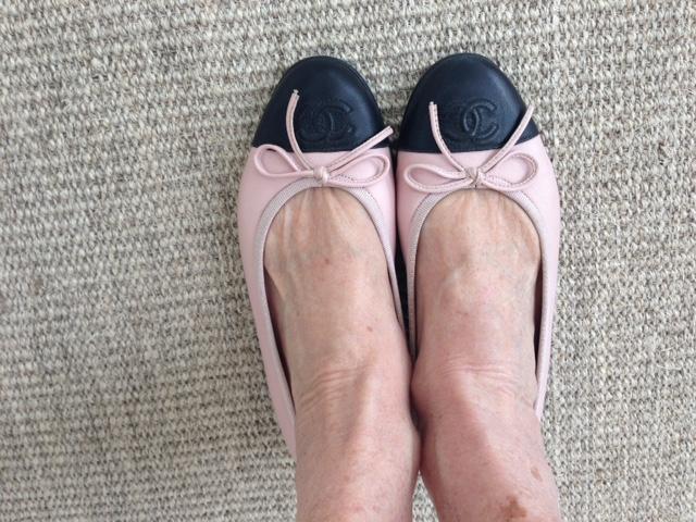 Pink Chanel ballet flatsl