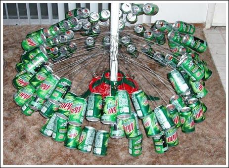 How To Make A Mountain Dew Soda Can Christmas Tree The