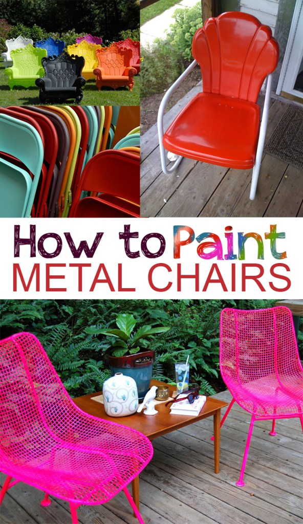 How to paint metal chairs picky stitch for Best paint for outdoor crafts