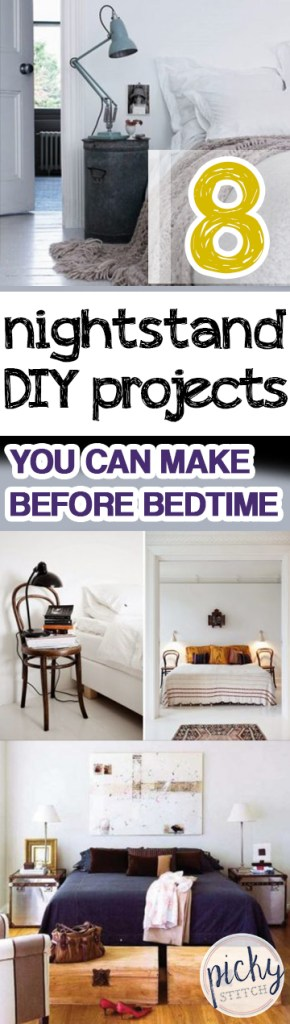 8 Nightstand DIY Projects You Can Make Before Bedtime | Nightstand Projects, DIY Projects, Bedroom DIYs, Bedroom Furniture Projects, Easy Ways to Update Your Bedroom, Fast Bedroom Updates, Tips and Tricks, DIY Nightstands, Fast DIY Nightstand Projects, Popular Pin
