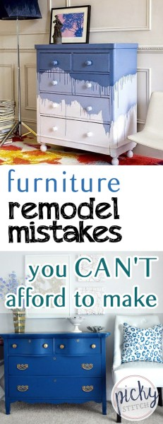 Furniture Remodel Mistakes You CAN'T Afford to Make - Picky Stitch| Furniture Remodel, DIY Furniture Remodel, Furniture DIYs, DIY Furniture, DIY Furniture, Furniture Remodeling, Easy Furniture Remodel, Popular Pin #DIYFurniture #FurnitureRemodeling