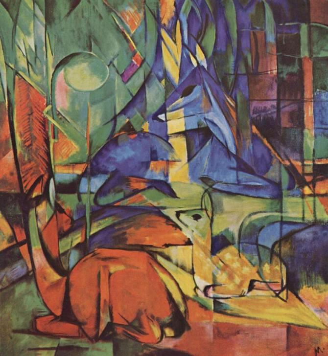 Rehe im Walde (Deer in Woods), 1914-by-Franz-Marc