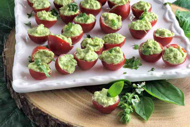 Cherry Tomatoes Stuffed with Avocado and Basil Cheese