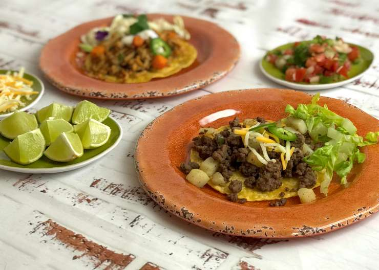 Beef and Chicken Tostadas
