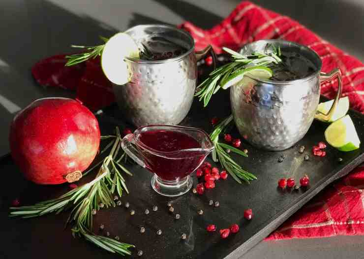 Pomegranate and Rosemary Mule