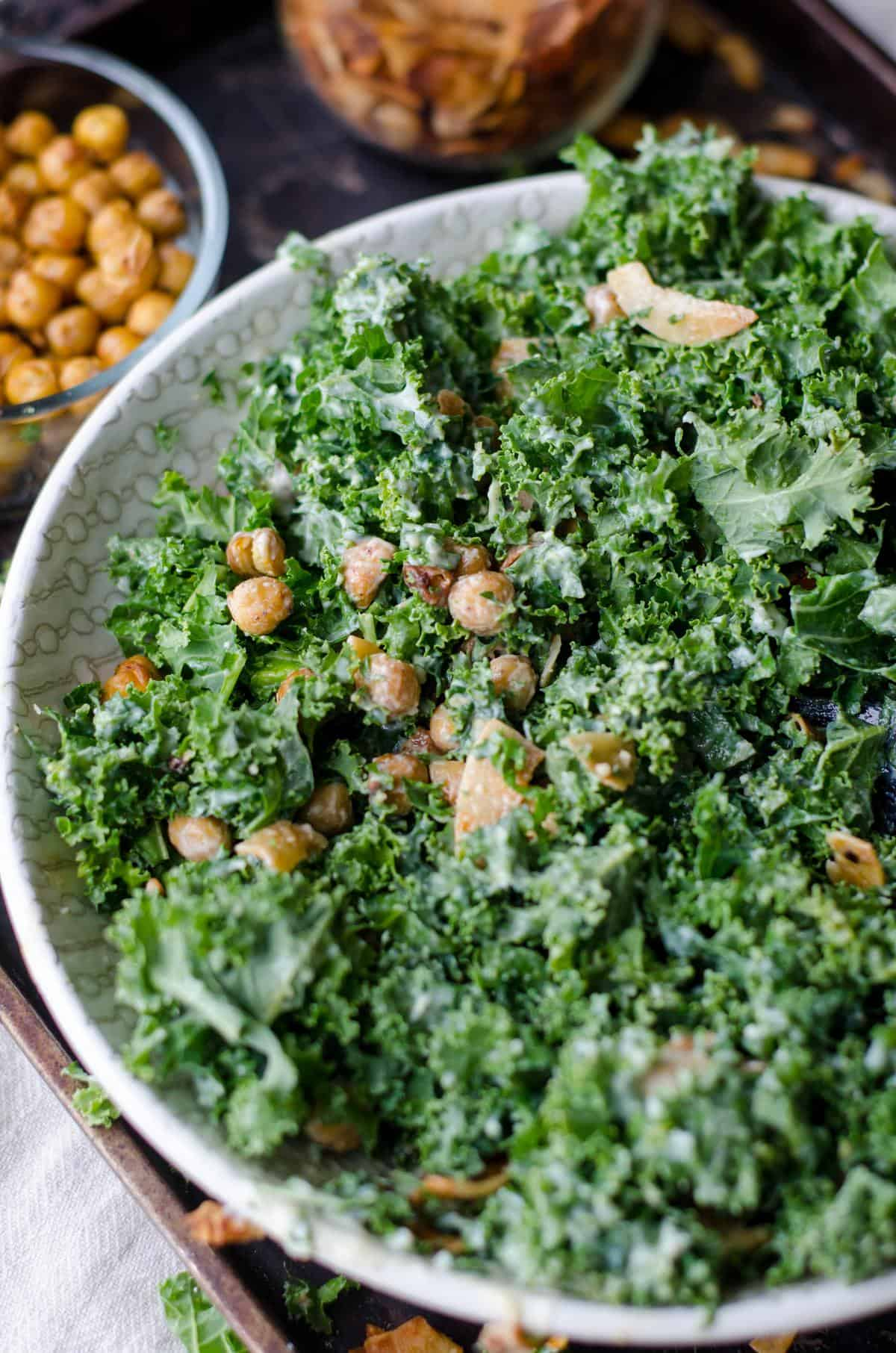 Close up of kale and chickpea salad.