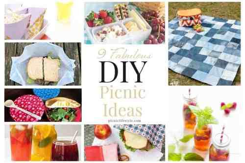 Collage of DIY picnic ideas.