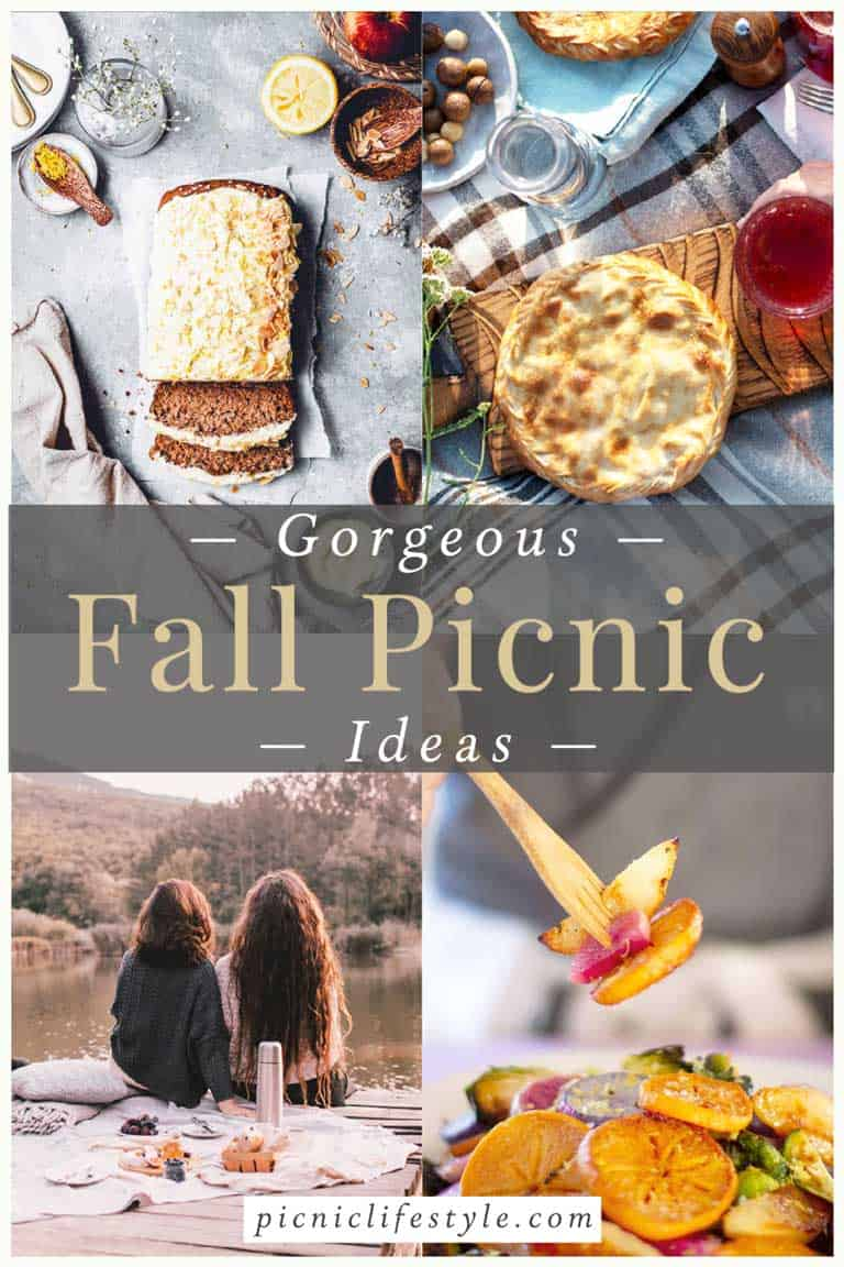 Collage of fall inspired picnic settings and recipes.
