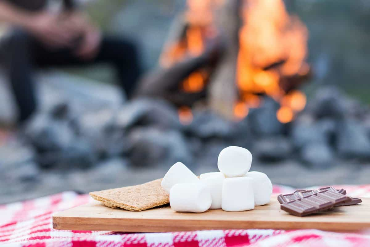 Marshmallows and chocolate in front of bonfire.