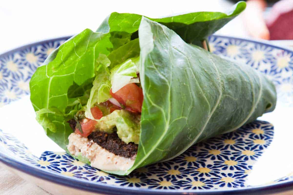 vegetable wrap using lettuce instead of bread.
