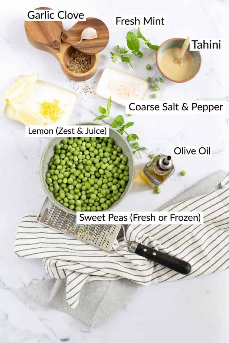 Ingredients for pea and mint dip laid out on a table and labelled.