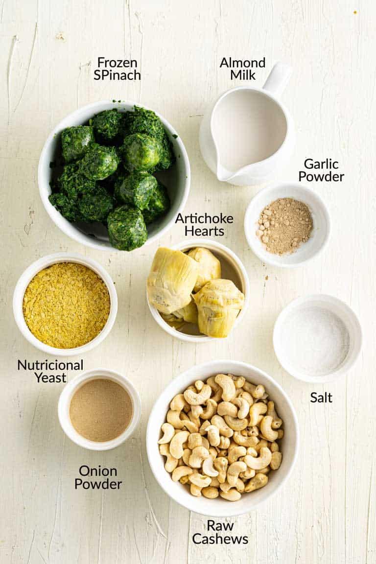 Ingredients for vegan spinach artichoke dip.