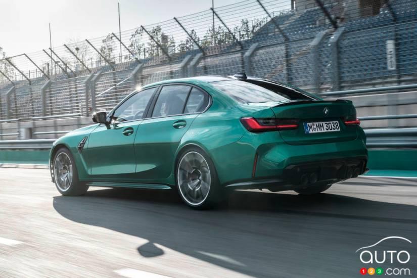 BMW M3 2021, three-quarter rear
