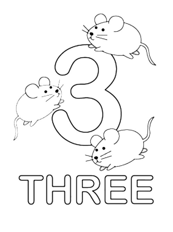 Number Three : Learning to Write Simple Handwriting Number ... | number coloring pages for toddlers