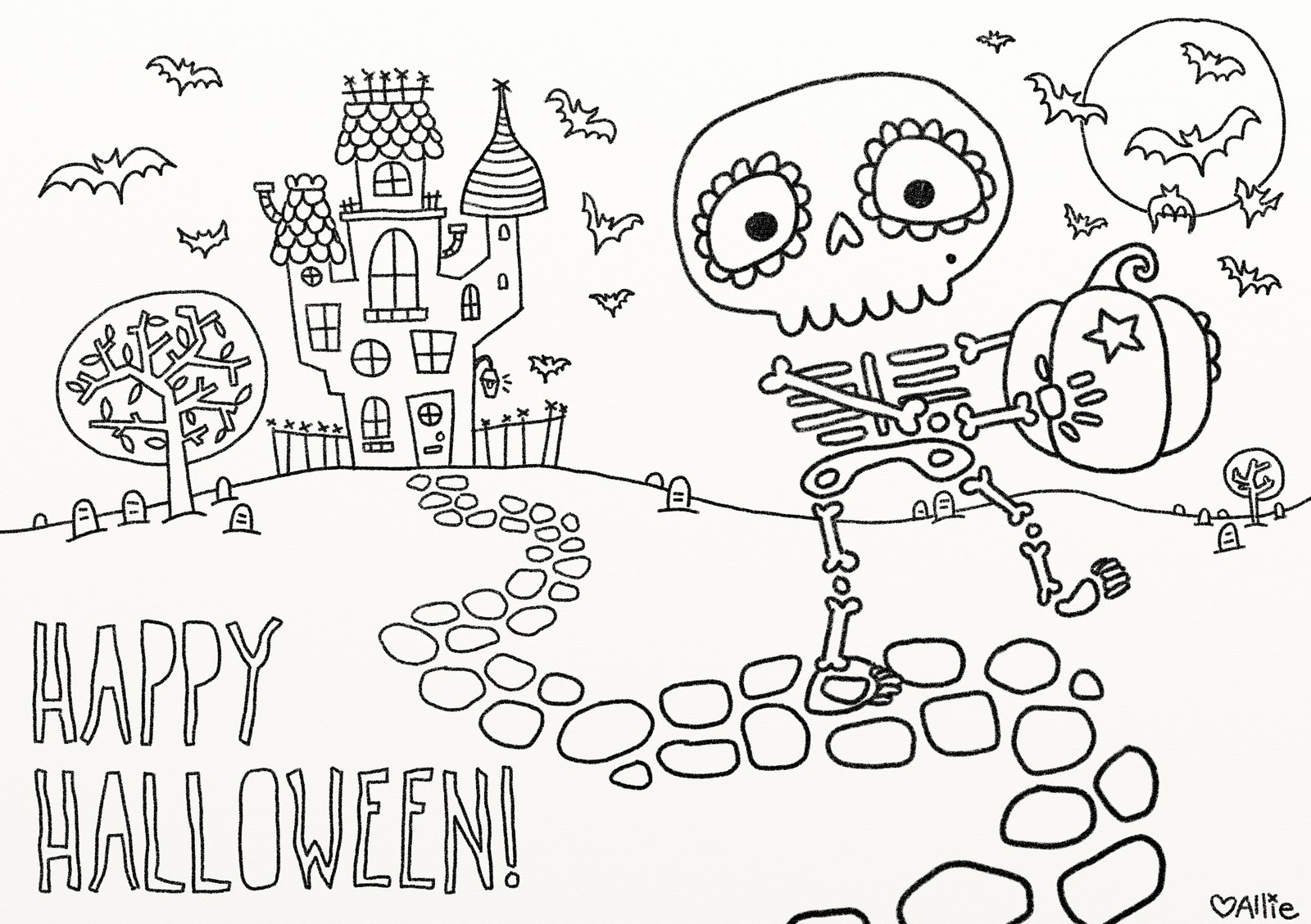 Truly Hunted Night Of Halloween Colouring Pages