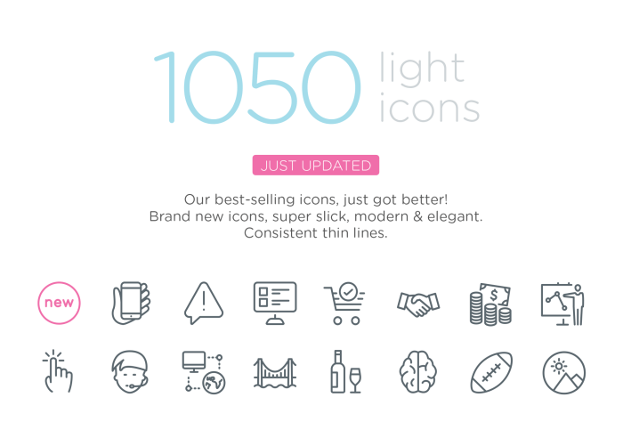 Picons Thin - 1050 vector icons