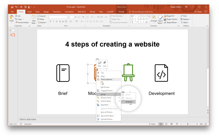 Ungroup vector icons in PowerPoint