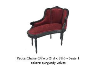 Burgundy Velvet Petite Chaise