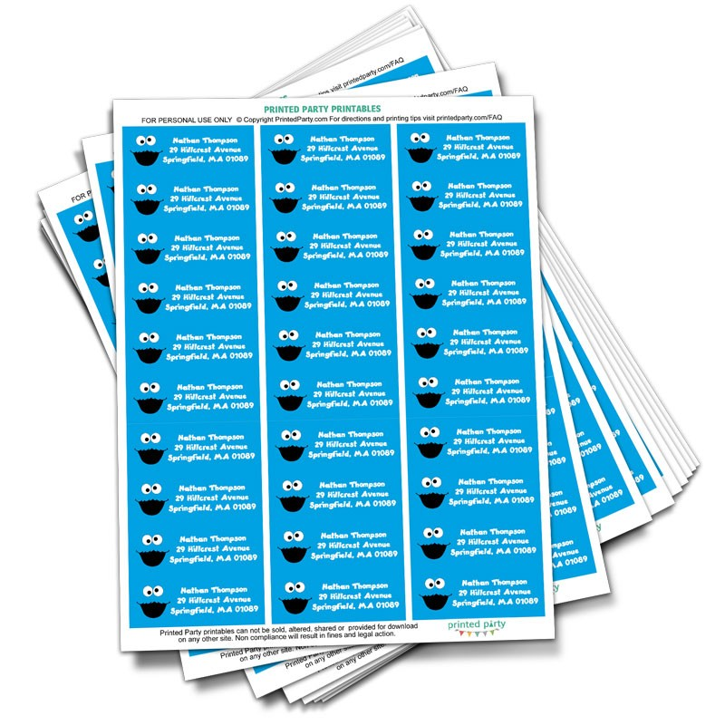 800+ vectors, stock photos & psd files. Cookie Monster Address Label Party Favor Printed Party