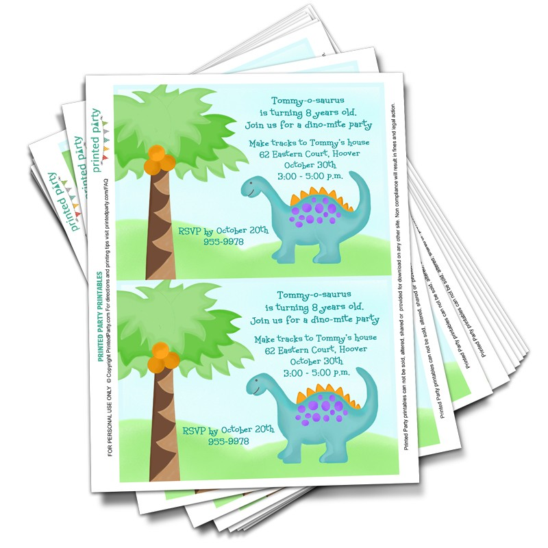 printable dinosaur party invitation birthday party printed party