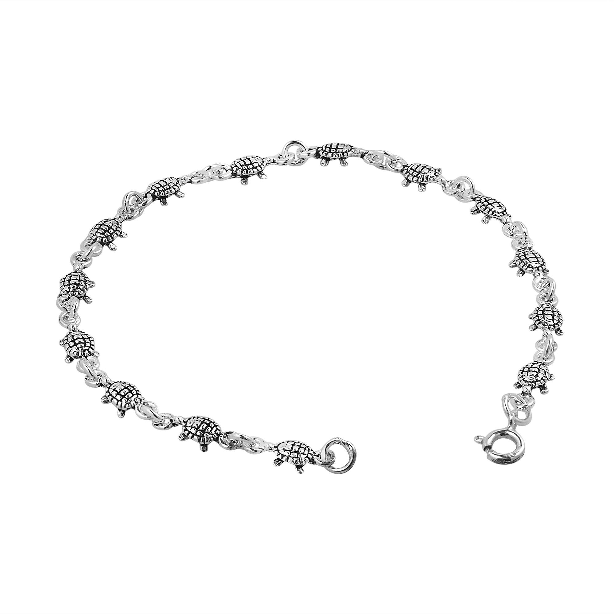 Cute Baby Sea Turtle Turtles Link 925 Silver Bracelet