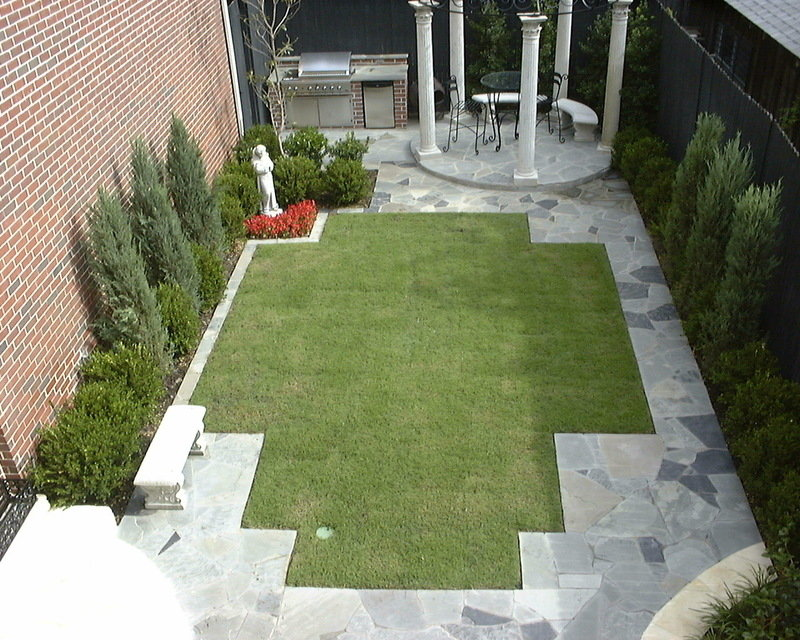 "Landscaping photo of ""Long narrow backyard space in Dallas ... on Narrow Backyard Landscaping Ideas  id=59470"