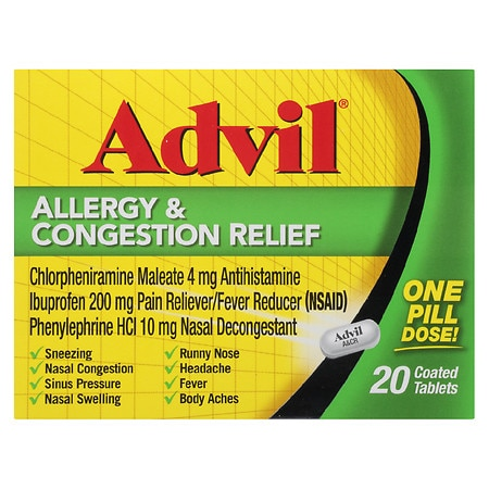 Advil Allergy & Congestion Relief Coated Tablets | Walgreens